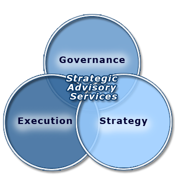 Graphic showing overlap of Governance, Strategy and Execution services